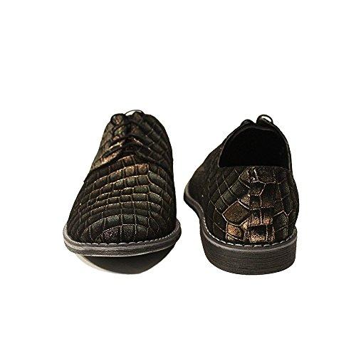 PeppeShoes Modello Tartaruga - Cuero Italiano Hecho A Mano Hombre Piel Marrón Zapatos Vestir Oxfords - Piel de Cabra Cuero Repujado - Encaje