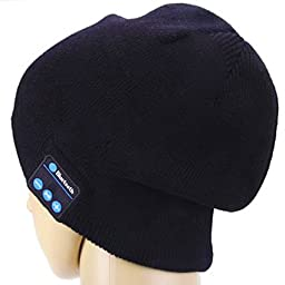 DOB Wireless Bluetooth Hat Headphones Built-in Stereo Speakers, Black