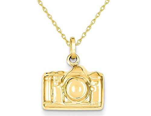 Polished Camera Charm Pendant Necklace in 14K Yellow Gold with Chain 14k Gold Camera Pendant