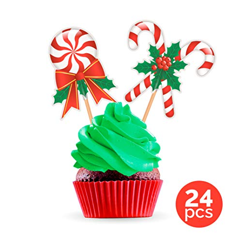 Candy Cane Cupcake Toppers Cake Picks - Christmas Party Decorations Supplies Winter Holiday - 24 PCS