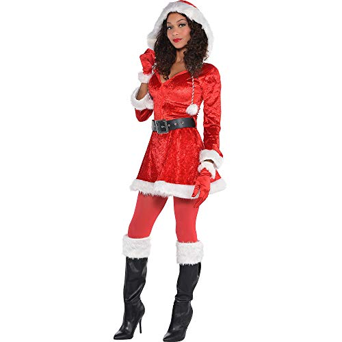 Ladies Adult Sassy Sexy Santa Fancy Dress Costume Merry Christmas Xmas Grotto Nativity Plush Fur Furry Detail with Hood Belt & Boot Tops (Large 10-12) ()