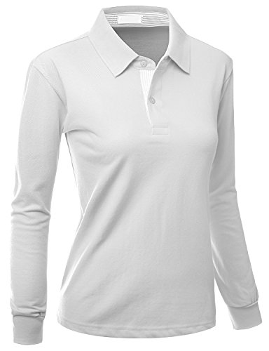 Xpril Womens Casual Basic Sporty Long Sleeve Polo Collar t Shirt White Size ()