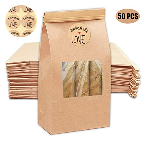 NPLUX 50Pcs Brown Bakery Bags with Window Kraft Paper Bags with 50Pcs Handmade Stickers for Storing Cookie Dried Foods Snack