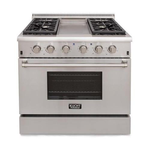 "Kucht KRG3609U/LP Professional 36"" 5.2 cu. ft. Propane Gas Range, Stainless-Steel"