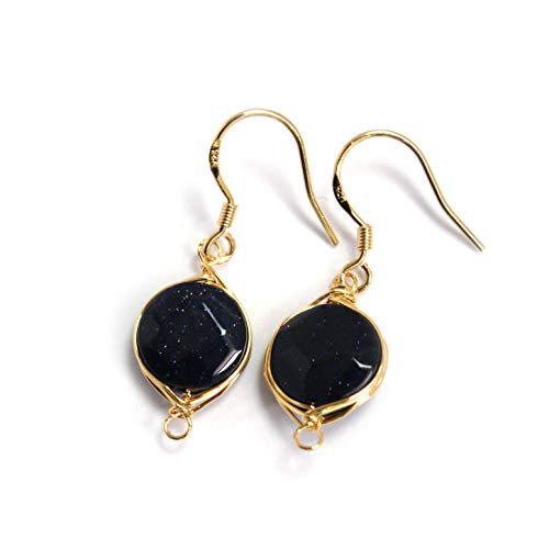 Scutum Craft Natural Stone Dangle Drop Earrings with 14K Yellow Gold Plated Wire Wrap and 925 Sterling Silver Hook Jewelry for Women, Gift for Best Friend (Blue Goldstone Round Cut 10mm) ()