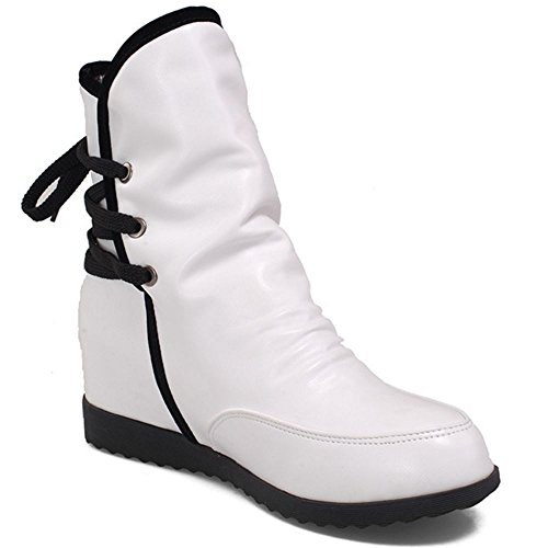 Courte Compense Fur Talon TAOFFEN De Cheville Bottines White Bottes Lacets A Femmes fW6vWOZ0