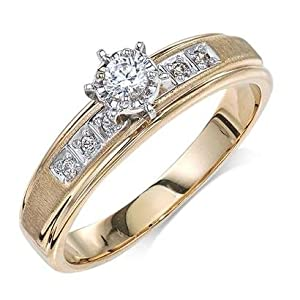 Engagement Diamond .170 CTW Round I color SI1 clarity 10k Yellow Gold Trio Ring MADE IN THE USA
