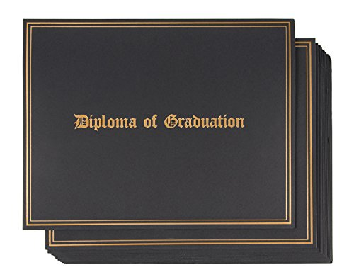 Diploma Holder Gold (Certificate Holder - 12-Pack Diploma Covers for Graduation Ceremony, Document Holder for Letter-Sized Award Certificates, Black with Diploma of Graduation Gold Foil Print Designs, 11.2 x 8.7 Inches)