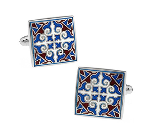 (Classic Square Vintage Cufflinks Victorian Flower Cuff-links)