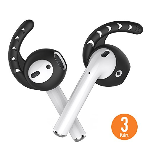 AhaStyle 3 Pairs Ear Hooks and Covers Compatible with Apple AirPods and EarPods (Black)
