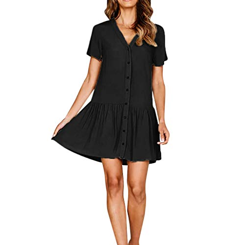 Women V-Neck Solid Shirt Dress Sleeve Button Casual Evening Mini Dress Black