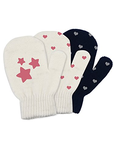 Satinior 3 Pairs Toddler Magic Stretch Mittens Little Girls Soft Knit Mitten Baby Boys Winter Knitted Gloves (1-4 Years Size, Multicolor 6)