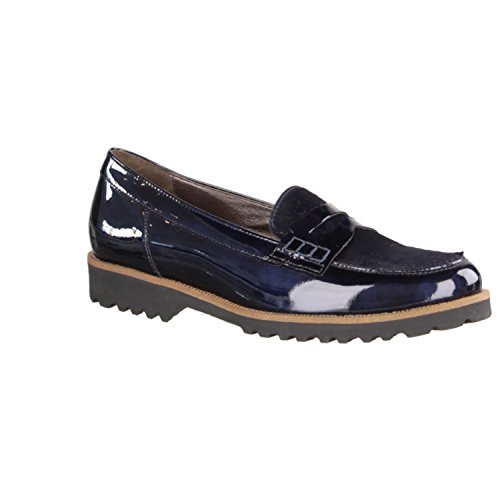 Gabor 51413-96 - Zapatillas Tipo Slip Para Mujer / Mocasínes, Azul, cuero (kayak charol/haircalf), altura de tacón: 22 mm Azul - azul