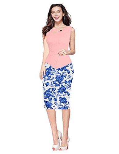 Waist Bestgift Piece Sleeveless blue Dress Two Pink Neck Flowers Women's Crew High Stitching Xq88Ipxr
