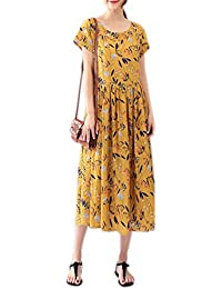 FDFAF Fashion cotton linen vintage print women casual long summer dress vestidos femininos dresses