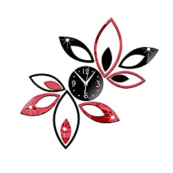 Baynne Unique Leaves Sticker DIY Needle Quartz Wall Clock Fashion 3D Mirror Clock