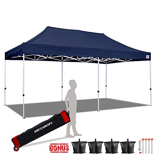 ABCCANOPY 10x20 Canopy Tent Pop up Canopy Outdoor Canopy Commercial Instant Shelter with Wheeled Carry Bag, Bonus 6 Canopy Sand Bags, Navy Blue