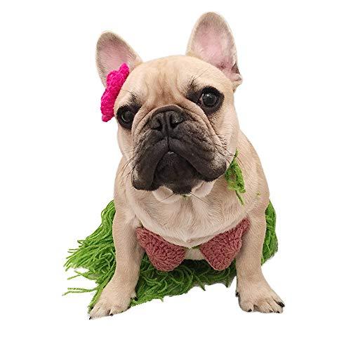 Amakunft Dog Hawaii Bikini Costume, Pet Polynesian Hula Girl Cosplay for Halloween Christmas Party Bra Skirt with Flower Clip Lei Set for Puppy & Cat -
