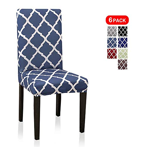 6 Pack Chair Slipcovers for Dining Room, Washable Spandex Dining Chair Covers Sets for Kitchen Home Room Table Geometric Pattern, Lake Blue