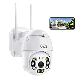 PTZ Camera Outdoor, 1080P Pan Tilt Wireless Security IP Camera, 5 dBi Antenna, 2.4G Home WiFi Camera, Weatherproof Video Surveillance CCTV Camera, Night Vision, Two Way Audio, Motion Detection