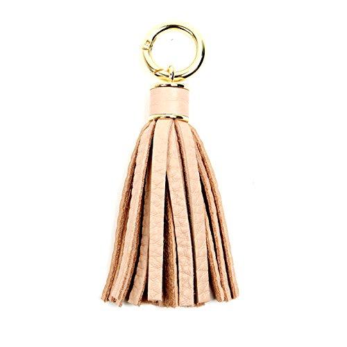 Shoulder Leather Bag Beaded (Women Genuine Leather Tassel Charm For Handy Handbag Purse Bag Wallet Smartphone Key Rings Accessories (B-pink))