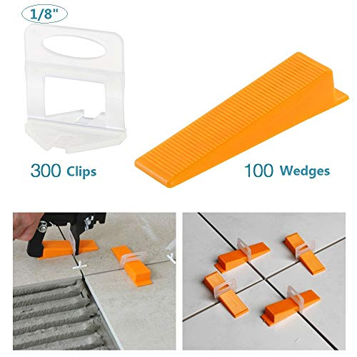Tile Leveling System DIY Tiles Leveler Spacers 1/8 inch 300pcs Leveling Spacer Clips Plus 100pcs Reusable Wedges