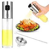 Olive Oil Sprayer, Premium Glass Oil Sprayer Bottle Vinegar Bottle Oil Dispenser with Stainless Steel Funnel and Cleaning Brush for BBQ,Cooking, Frying,Salad, Baking (Silver)