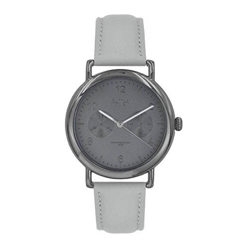 ikki Reloj analógico para mujer Quartz Piel gris Ion de 07