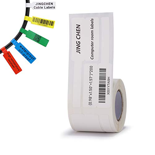 """JINGCHEN Thermal Cable Label Paper, Widely Used in Communication/Power/Computer-room/ Accessories/Cable Label Printing, 0.98""""x 1.50""""+1.57"""", 200 Labels/Roll,White by JINGCHEN (Image #5)"""