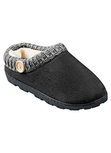 Carol Wright Gifts Knit Trim Clog Zapatilla Negra