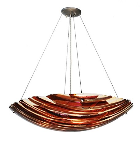 Meyda Tiffany Custom Lighting 98207 Marina 4-Light Pendant, Brushed Nickel Finish with Amber and White Fused Art Glass Shade