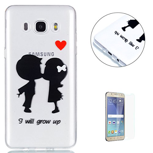 KaseHom Samsung Galaxy J510/J5 2016 Case Cue Cartoon Clear TPU Back and [Free Screen Protector] Anti-Scratch Slim Flexible Silicone Bumper Cover Transparent Shell for Galaxy J510 - Couple