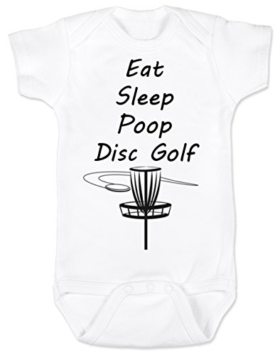 Vulgar Baby Bodysuit, Eat Sleep Poop Disc Golf, 6-12 MO, White