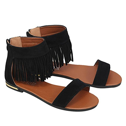 Binmer(TM) Summer Women Sandals Flat Fashion Tassel Comfortable Ladies Shoes Sandals Black