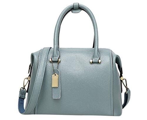 Dusty Blue Silk (KISS GOLD(TM) Women's Elegant Faux Leather Office Shopper Handbag Tote Crossbody Bag, Dusty)