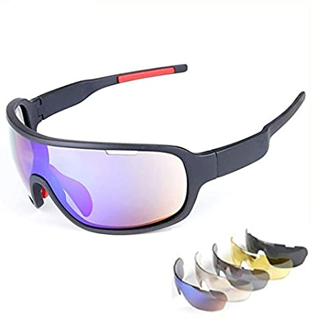 Wonzone Polarized Sports Sunglasses Sun Glasses with 5 Interchangeable Lenses for Men Women Cycling Baseball Running Riding (Scratch Golf Game Gear)