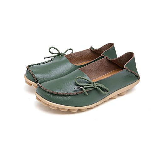 KALEIDO New Size Version Womens Driving Shoes Cowhide Leather Casual Lace-Up Loafer Flats Boat Shoes Army Green