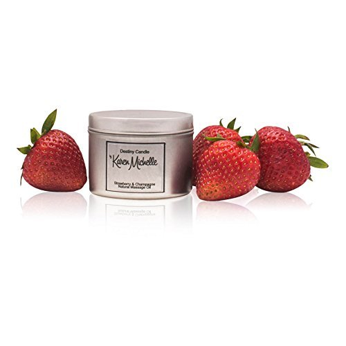 Strawberry Champagne Scented Massage Oil Candle - Aromatherapy | Destiny Candle by Karen Michelle | Beautiful Piece of Jewelry Inside | Rekindle The Romance