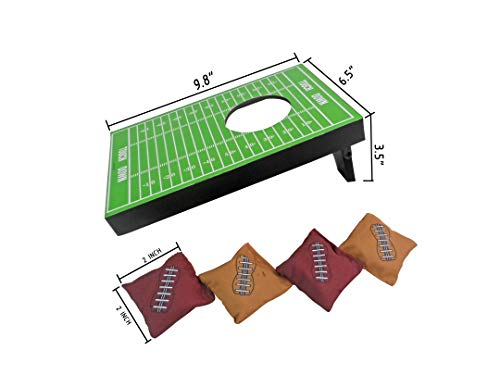 SPORT BEATS Sportbeats Mini Portable Cornhole Toss Game with 4 Bean Bags,Great for Fun and Stress Relief,Football Design -