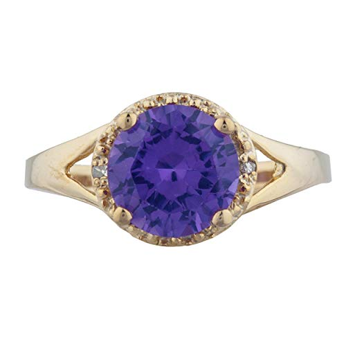 2 Ct Created Alexandrite & Diamond Halo Design Round Ring 14Kt Yellow Gold Rose Gold Silver ()