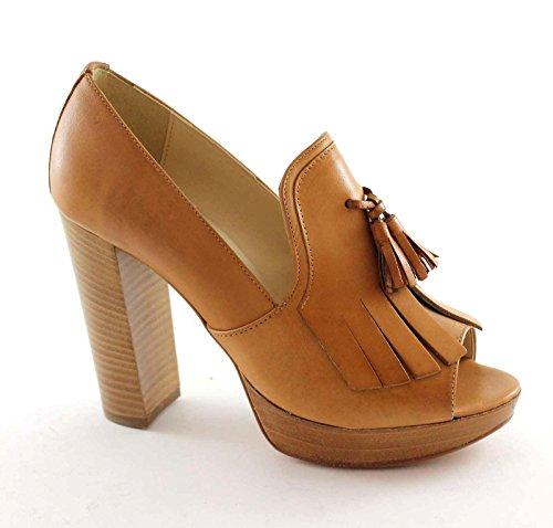 en Talons Frange Femme Marron Émoussée Divine Cuir Chaussures 2315 Follie HxqCBn6wAf