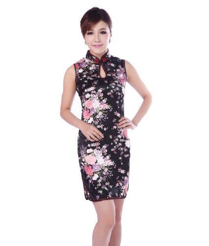 JTC Femme Cheongsam Courte Qipao Robe Chinois Motif de des Fleurs en Soie-noir