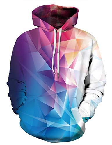 Fanient Unisex Diamond Print Hoodie Novelty Personalised Sweatshirt Pullover Hooded Stretch Hoodies by Alistyle