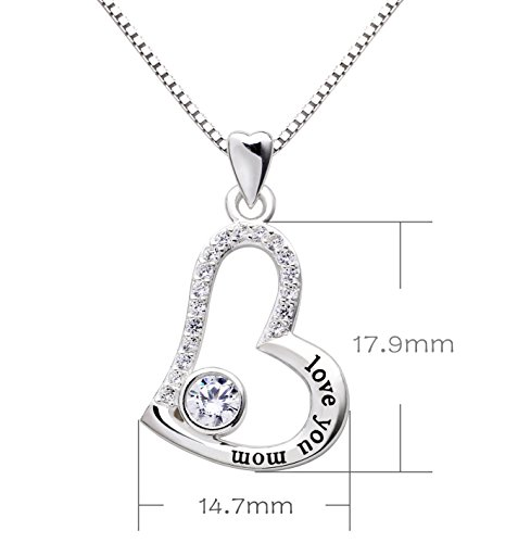 Amazon alov jewelry sterling silver love you mom love heart amazon alov jewelry sterling silver love you mom love heart cubic zirconia mother pendant necklace jewelry aloadofball Image collections