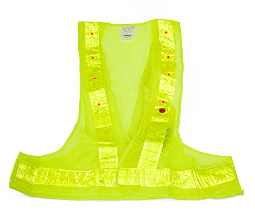 Illuminated Safety Vest - SE EP08L-G Safety Vest Illuminated by 16 Red LEDs, One Size, Yellow