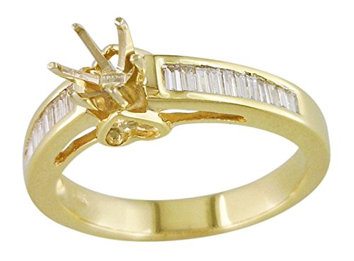Women's Channel Baguette Semi Mount 14k Yellow Gold .26 cttw