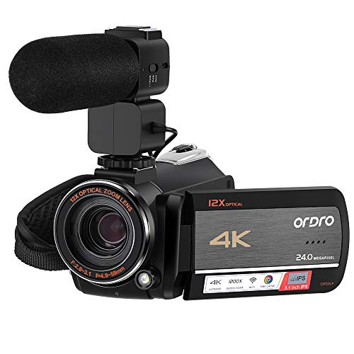 ORDRO 4K Camcorder HDR-AC5 12X Optical Zoom Ultra HD 4K Video Camera 1080P 60FPS 3.1'' IPS Touch Screen WiFi Camera Camcorders with Microphone