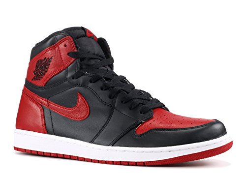 NIKE Mens Air Jordan 1 Retro High OG 2016 Banned Black/Varsity Red-White Leather Size 11 (Jordan 1 Retro)