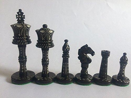 craftstore14Juego de ajedrez juego hueso Buffalo 32piezas tallados a mano por