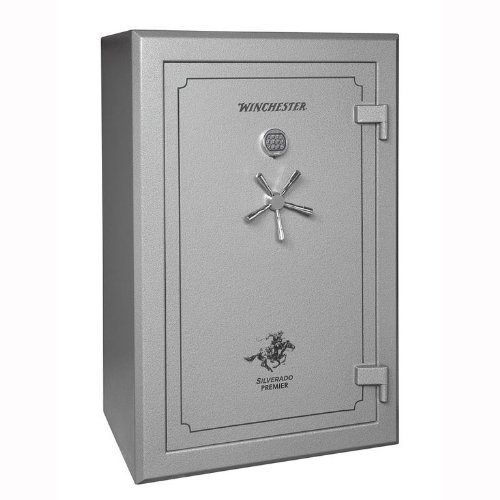Winchester Silverado Premier 2 Hour Fire Safe/51 Gun Safe - S38 - Grey - Electronic Lock - Door Panel Organization Included - 2 Hour 1400 Degree Rating - Three Layers Of 5/8 Inch Fireboard In The Door - Palusol Heat Expandable Door Seal - UL Listed For Burglary - 10 Gauge Body Construction